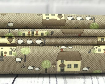 Cottontail Cottage - Brown Houses Fabric - Bunny Hill Designs
