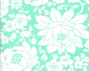 Aqua Mums Floral Fabric - Shine On Fabric - Bonnie and Camille - Moda Fabric - Flower Fabric - Floral Fabric - Sold by the Yard