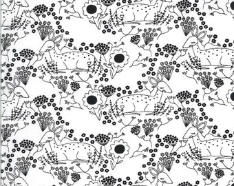 Black White Meadow Deer Fabric - Dwell In Possibilities - Gingiber - Moda Fabrics - Deer Fabric - Flower Fabric - Sold by the Yard