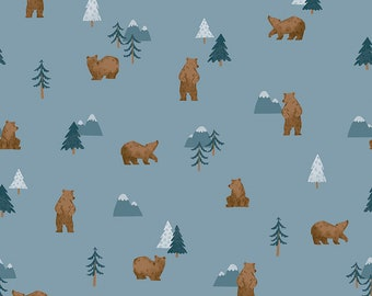 Denim Grizzly Bears Fabric - Natàlia Juan Abelló - Riley Blake Fabrics - Outdoor Fabric - Bear Bundle - Blue Fabric - Sold by the Yard