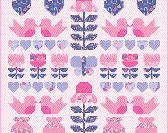 """Sweet Romance Quilt Pattern - Stacy Iest Hsu - Moda Fabrics - Quilt Pattern - 62"""" x 81.5"""" quilt"""