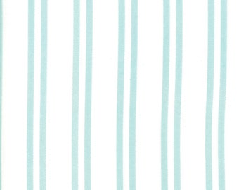 Little Tree Fabric - Aqua on White Stripe Fabric - Lella Boutique - Moda Fabrics - Christmas Fabric - Holiday Fabric - Sold by the Yard