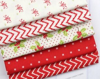 Christmas Figs II Mini Red Fat Quarter Bundle - Fig Tree and Co - Moda Fabric - Holiday Fabric - Fabric Bundle - 5 pieces