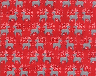 SALE | Sno Fabric - Red Oh Deer Fabric - Northern Quilts - Moda Fabrics - Winter Fabric - Deer Fabric - Animal Fabric - Sold by the Yard