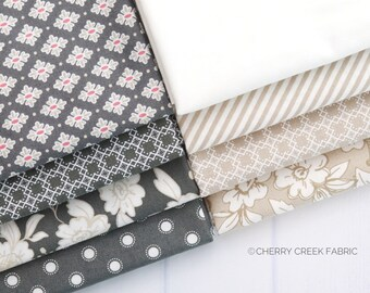 Charcoal and Teal by Lella Boutique for Moda Fabrics Bloomington Wide Backing  Parisian Dot Rose Eggshell Sage
