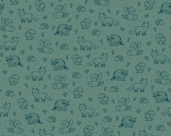 Pine Green Woodland Life Fabric - Natàlia Juan Abelló - Riley Blake Fabrics - Outdoor Fabric - Animal Fabric - Fox Fabric - Sold by the Yard