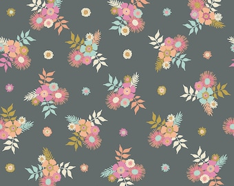 Gray Posies Fabric - Meadow Lane Fabric - Sara Davies - Riley Blake Designs - Flower Fabric - Floral Fabric - Sold by the Yard