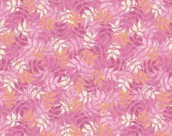 Pink Leaves Fabric - Meadow Lane Fabric - Sara Davies - Riley Blake Designs - Leaves Fabric - Leaf Fabric - Sold by the Yard