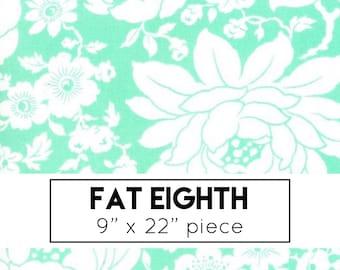 FAT EIGHTH   Aqua Mums Floral Fabric - Shine On Fabric - Bonnie and Camille - Moda Fabric - Flower Fabric - Floral Fabric