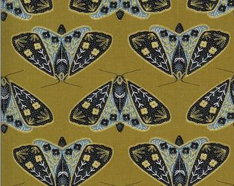 Umber Dainty Moths - Dwell In Possibilities - Gingiber - Moda Fabrics - Moth Fabric - Flower Fabric - Sold by the Yard