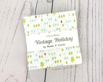 Vintage Holiday Flannel Charm Pack - Bonnie & Camille - Moda Fabric - Fabric Charm Pack - 42 pieces