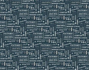 Varsity Fabric - Navy Sports Text Fabric - Deena Rutter - Riley Blake Designs - Text Fabric - Sports Fabric - Sold by the Yard