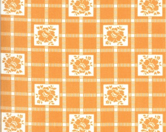 Orange Check Fabric - Shine On Fabric - Bonnie and Camille - Moda Fabric - Flower Fabric - Geometric Fabric - Sold by the Yard