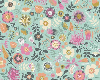 Mint Floral Fabric - Meadow Lane Fabric - Sara Davies - Riley Blake Designs - Flower Fabric - Floral Fabric - Sold by the Yard