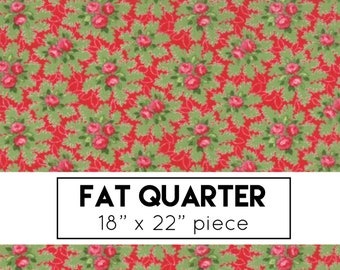 FAT QUARTER | Good Tidings Fabric - Berry Red Christmas Bouquets Fabric - Brenda Riddle - Moda Fabric - Christmas Fabric