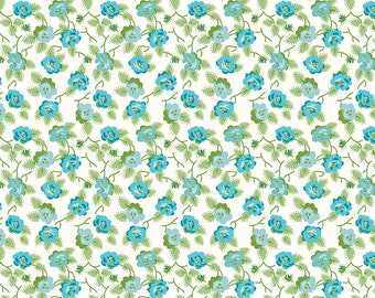 Blue Retro Floral Fabric - Granny Chic - Lori Holt - Riley Blake Designs - Blue Dishes Fabric - Floral Fabric - Sold by the Yard