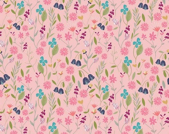 In the Meadow Fabric - Pink Flower Field Fabric - Keera Job - Riley Blake Designs - Sold by the Yard