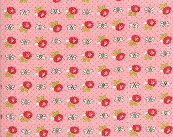 Pink Bees Fabric - Shine On Fabric - Bonnie and Camille - Moda Fabric - Flower Fabric - Beesley Fabric - Sold by the Yard