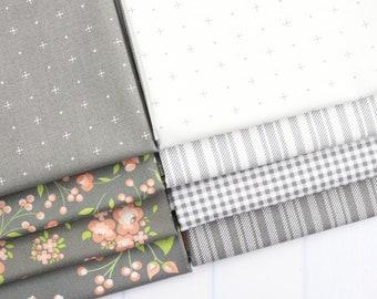 Apricot & Ash Gray Fat Quarter Bundle - Corey Yoder - Moda Fabrics - Fat Quarter Fabric - Floral Fabric - Flower Fabric - 8 pieces