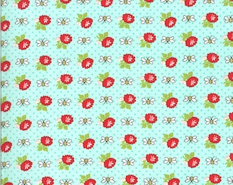 Aqua Bees Fabric - Shine On Fabric - Bonnie and Camille - Moda Fabric - Flower Fabric - Beesley Fabric - Sold by the Yard