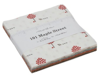 101 Maple Street Charm Pack - Bunny Hill Designs - Moda Fabric - Fabric Charm Pack - Fall Fabric - Autumn Fabric - 42 pieces