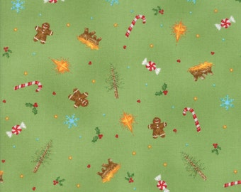Good Tidings Fabric - Green Pine Christmas Elements Fabric - Brenda Riddle - Moda Fabric - Christmas Fabric - Sold by the Yard