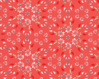 Coledale Fabric - Red Floral Wreath Fabric - Franny & Jane - Moda Fabric - Flower Fabric - Floral Fabric - Sold by the Yard