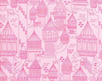 Once Upon A Time Fabric - Pink Castle Fabric - Stacy Iest Hsu - Moda Fabric - Princess Fabric - Castle Fabric - Sold by the Yard