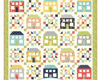 """Be My Neighbor Quilt Pattern - A Quilting Life Pattern - Sherri McConnell - Fat Quarter Quilt Pattern - 77.5"""" x 77.5"""" Quilt"""