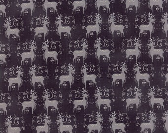 SALE | Sno Fabric - Black Oh Deer Fabric - Northern Quilts - Moda Fabrics - Christmas Fabric - Holiday Fabric - Sold by the Yard
