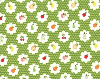 Orchard Fabric - Green Fruit Grove Fabric - April Rosenthal - Moda Fabric - Fruit Fabric - Cherry Fabric - Sold by the Yard