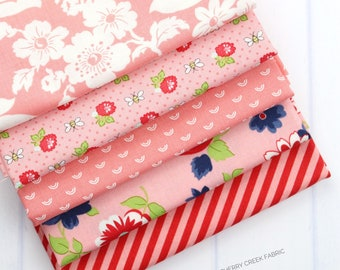 Shine On Pink Fat Quarter Bundle - Shine On Fabric - Bonnie and Camille - Moda Fabric - Flower Fabric - 5 pieces
