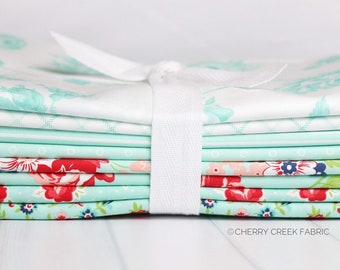 Smitten Aqua One Yard Fabric Bundle - Bonnie & Camille - 8 pieces
