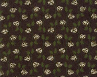 Winter Village Fabric - Black Pine Cone Fabric - Basic Grey