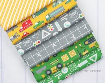 On the Go Green, Grey & Yellow Fat Quarter - Stacy Iest Hsu - Moda Fabrics - Car Fabric - Boy Fabric - Truck Fabric - 6 pieces