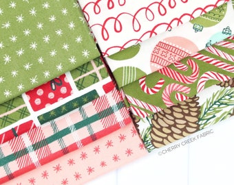 To Be Jolly Pink & Green Fat Quarter Bundle - One Canoe Two