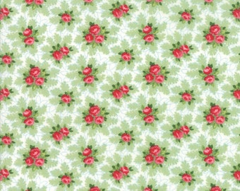 Good Tidings Fabric - Linen White Christmas Bouquets Fabric - Brenda Riddle - Moda Fabric - Christmas Fabric - Sold by the Yard