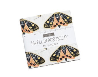 Dwell In Possibilities Charm Pack - Gingiber - Moda Fabrics - Square Fabric - Floral Fabric - Flower Fabric - 42 pieces