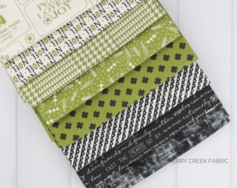 The Christmas Card Green & Black Fat Quarter Bundle - Sweetwater - Moda Fabrics - Christmas Fabric - Green Bundle - 8 pieces