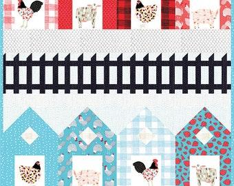 "Fences Quilt Pattern - Gingiber - Moda Fabric - Farm Fresh Fabric - 48"" x 62"" Quilt"