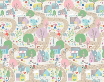 FAT QUARTER | Once Upon A Rhyme Fabric - Village Cream Fabric - Jill Howarth - Riley Blake Designs - Children's Fabric