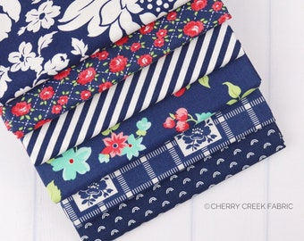 Shine On Navy Fat Quarter Bundle - Shine On Fabric - Bonnie and Camille - Moda Fabric - Flower Fabric - 6 pieces