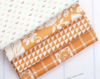 Shine On Orange Fat Quarter Bundle - Shine On Fabric - Bonnie and Camille - Moda Fabric - Flower Fabric - 4 pieces
