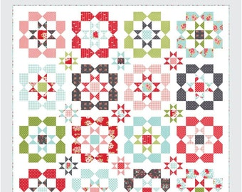 """Lighthearted Quilt Pattern - Thimble Blossoms Pattern - Camille Roskelley - Bonnie and Camille - Fat Quarter Pattern - 82"""" x 82"""" Quilt"""