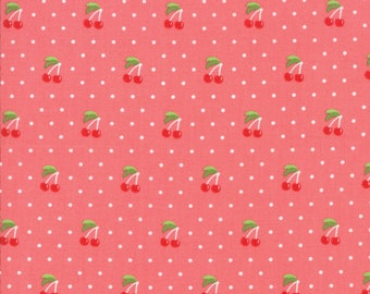 Orchard Fabric - Pink Cherry Pie Fabric - April Rosenthal - Moda Fabric - Cherry Fabric - Cherries Fabric - Sold by the Yard