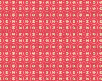 Red Vintage Tulips Fabric - Vintage Happy 2 - Lori Holt