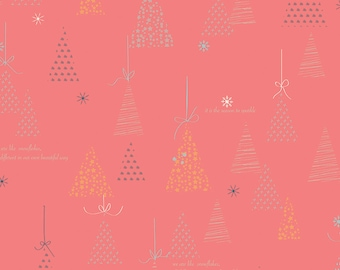 SALE | Winter Tales Fabric - Coral Winter Tree Fabric - Minki Kim - Riley Blake Designs - Sold by the Yard