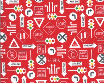 Red It's a Sign Fabric - On the Go - Stacy Iest Hsu - Moda Fabrics - Tractor Fabric - Construction Fabric - Sold by the Yard