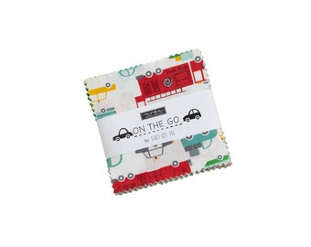 On the Go Mini Charm Pack - Stacy Iest Hsu - Moda Fabrics - Car Fabric - Boy Fabric - Truck Fabric - 42 pieces