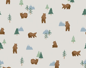 Off White Grizzly Bears Fabric - Natàlia Juan Abelló - Riley Blake Fabrics - Outdoor Fabric - Bear Bundle - Blue Fabric - Sold by the Yard